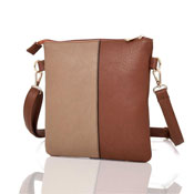Ladies Hailey Split Design Crossbody Bag Red Brown