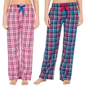 Ladies Check Print Lounge Pants Blue/Pink