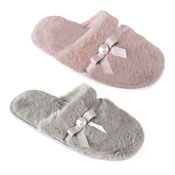 Ladies Pearl Soft Fleece Mule Slippers