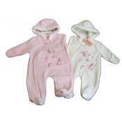 Baby Girl Butterflies Fleece Romper Suit