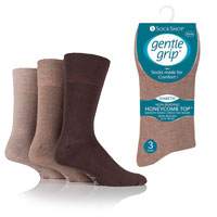 Mens Big Foot Gentle Grip Socks Brown