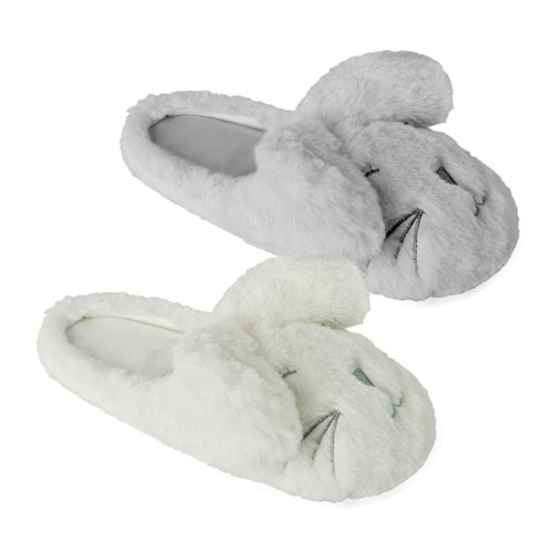 Ladies Plush Rabbit With Ears Slippers