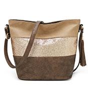 Adalia Stripe Panel Bucket Bag Bronze