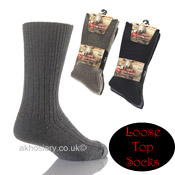Mens Non Elastic Wool Blend Socks