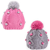 Girls Soft Knit Pom Pom Hat With Bobble Detail