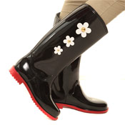 PVC Wellies with Daisy Black/Red