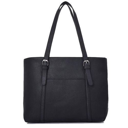 Doreen Buckle Strap Shopper Bag Black
