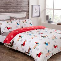 Comfy Fleece Winter Sausage Dog Design Duvet Set