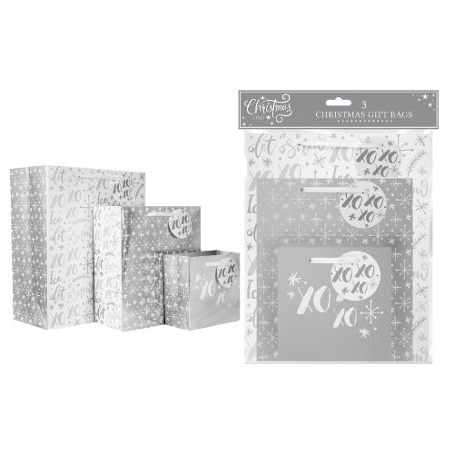 Silver Foil Gift Bags Pack Of 3