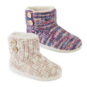 Ladies Mixed Knitted Button Trim Bootee Slipper