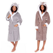 Ladies Novelty Dressing Gown with Animal Hood