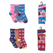 Girls Flower & Butterfly Design 3 Pack Socks