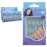 12 Pack Mermaid False Nails With Glue