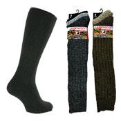 Mens Long Length Lambs Wool Blend Socks