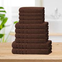 Bear & Panda 10 Piece Cotton Towel Bale Chocolate