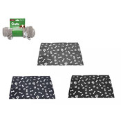 Crufts Paw/Bone Print Coral Fleece Blanket