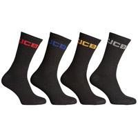 JCB 4 Pack Mens Crew Socks Black