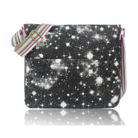 Galaxy Print Canvas Cross Body Bag Black