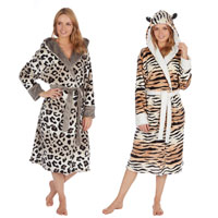 Ladies Animal Print Fleece Hooded Gown