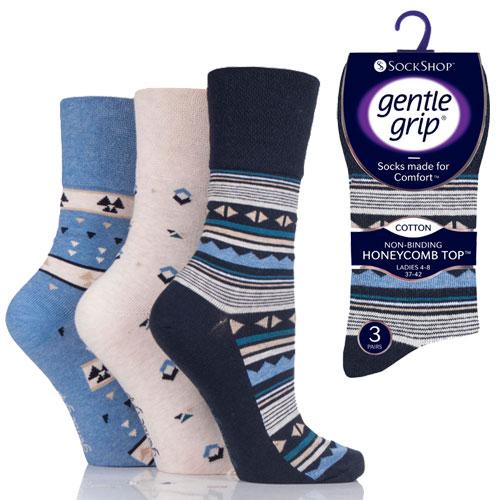 Ladies Gentle Grip Socks Aztec Assorted