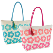 Floral Print Paperstraw Bag with Tassels
