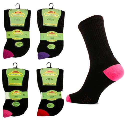Extra Wide Diabetic Ladies Socks Coloured Heel & Toe