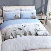 White Polar Bear Print Duvet Set