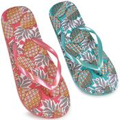 Ladies Pineapple Print Flip Flops