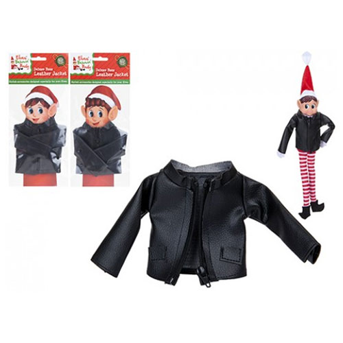 Black Leather Jacket With Zip For Elves