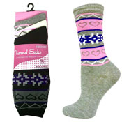 Ladies Computer Thermal Socks Hearts