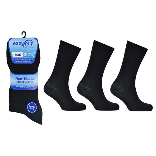 Eazy Grip Plain Black Socks