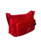 Brianna Nylon DrawString Bucket Bag Red