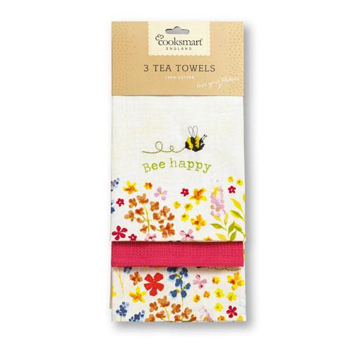 Bee Happy Tea Towels 3 Pack