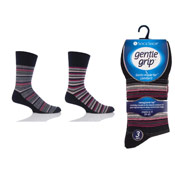 Mens Gentle Grip Socks Black Maroon Stripe