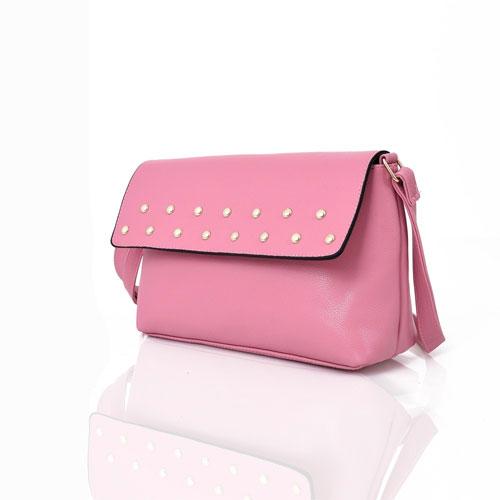 Willow Stud Flap Crossbody Bag Pink