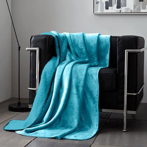 Teal Flannel Sherpa Throw