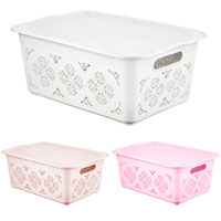 Medium Floral Storage Basket With Lid