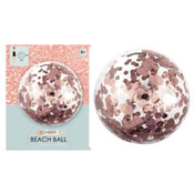 Inflatable Rose Gold Beach Ball With Confetti