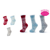 Ladies Non-Skid Fairisle Fleece Lined Slipper Socks