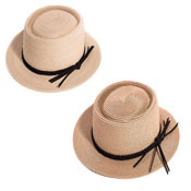 Ladies Short Brim Straw Hat With Plaited Band