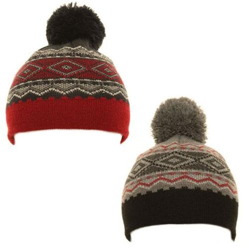 Boys Pattern Bobble Hat With Pom Pom