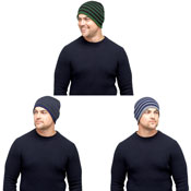 Mens Stripe Beanie Hat