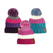 Girls Striped Knitted Bobble Hat With Pom Pom