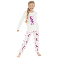 Girls Llama Fleece Xmas Pyjama Set