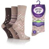 Ladies Bamboo HoneyComb Gentle Grip Socks Neutral