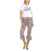 Slogan Leopard Print Frilled Pyjama Set