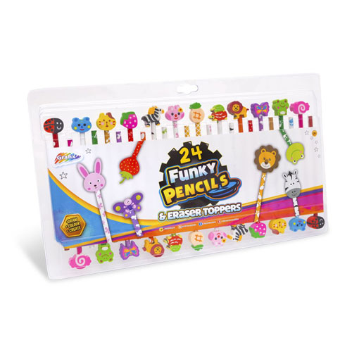 24 Funky Pencils And Eraser Toppers
