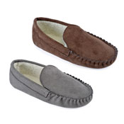 Mens Faux Fur Suede Moccasin Slipper Shoes Brown/Grey