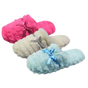 Ladies Furry Mule Slippers with Bow
