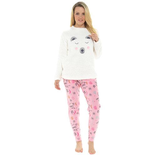 Ladies Sherpa Top & Fleece Bottoms Pyjama Set